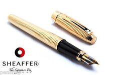 Sheaffer Prelude Signature 22K Gold Plate Diamond Pattern Fountain Pen FINE Nib