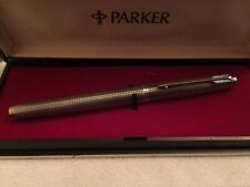 VINTAGE PARKER 75 FOUNTAIN PEN FLAT END STERLING SILVER CISELE 14kG NIB 63 Boxed