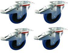 Blue wheels case wheels Ø100 mm Lenkrolle & Lenkrolle Bremse als Satz