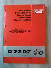 Original Ersatzteilliste Deutz Traktor D7207