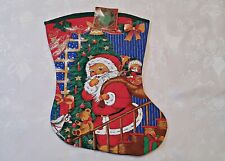 "VINTAGE CHRISTMAS DECORATION STOCKING SANTA CLAUS GIFT RED GREEN-SIZE:15""x 19"""