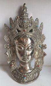 TIBETAN BUDDHA FACE 10'' Tara Devi HEAD WALL Hanging MASK Silver Shamanism Durga