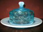 Aqua blue opalescent glass eyewink pattern round covered butter dish pound domed