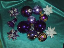 Konvolut alter Christbaumschmuck Glas Weihnachtskugeln lila weiß gold + 4 Sterne