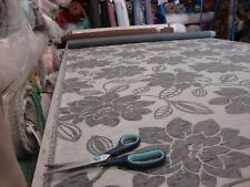 BASUR FLORAL CHARCOAL DESIGNER CURTAIN / UPHOLSTERY FABRIC