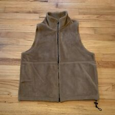 Vintage Mazmania Large Fleece Vest Brown Soft Plush Full Zip Close Usa