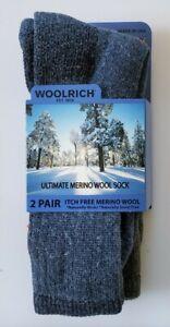 Woolrich Ultimate Merino Wool Socks Large Two Pairs Blue Green WR1861