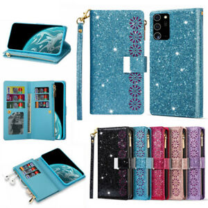 For Samsung S21 S20 FE Note20 Ultra S10E Plus Case Leather Glitter Wallet Cover