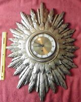 Mid Century Hollywood Regency Sunburst 8Day Wall Clock Germany Starburst Vintage