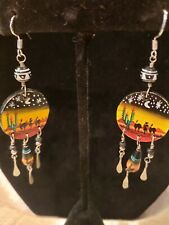 """2 1/4"""" excellent Free Ship! sterling silver handpainted earrings native scene"""