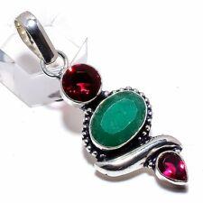 "Emerald, Garnet Gemstone Handmade 925 Sterling Silver Pendant 2.05"""