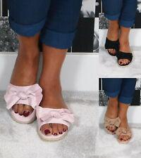 Ladies Womens Flatform Summer Sliders Slip On Flat Bow Mule Sandals Shoes Size