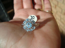 VERY PRETTY NATURAL SKY BLUE TOPAZ CLUSTER RING SET IN STAMPED 925 SOLID SILVER
