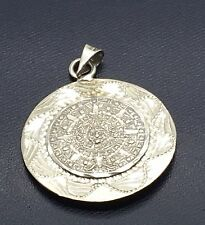 Mexican Sterling Silver Aztec Calendar Pendant  Mayan Warrior Reversible  Large
