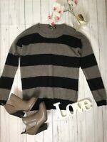 Jaeger Size S 8 10 brown black striped jumper 70% wool, 30% cashmere soft sleeve