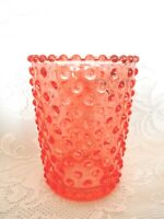 Collectible Pink/Peach Glass Hobnail / Candlewick Pattern Votive/ Tealight/ Vase