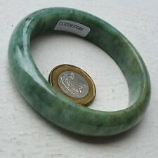 57mm Certified Type A Jadeite Bangle Yellow Green Floating Flower Jade