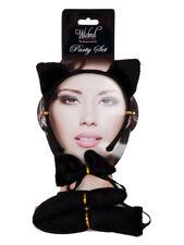 Hen Cat Tail, Ears & Bow Tie Set Black Fancy Dress Ladies Accessory Halloween