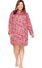 NWT Ralph Lauren 1X Women's 100% Cotton Sleepshirt Gown NIghtshirt $66 RED BLUE