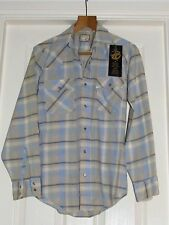 MEN'S VTG S LEVI'S WHITE-TAB PEARL-SNAP SHIRT SHADES OF BLUE AND BEIGE CHECK
