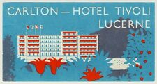 Carlton-Hotel LUZERN Switzerland * Old Swiss Luggage Label Kofferaufkleber