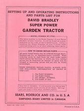 David Bradley Super Power Garden Tractor Model 91757561 Instructions Reprint