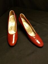 Hill and Dale -7Aa Narrow- Dark Shiny Rust Red Patent Leather Round Heel Classic