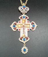 "Rhinestones Pectoral Cross with Antique Orthodox Icon of Crucifiction 7.5"" & Box"