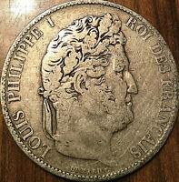 1845 FRANCE SILVER 5 FRANCS LOUIS PHILIPPE ROI DES FRANCÇAIS