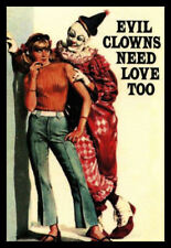 Men's Ladies T SHIRT funny cool EVIL CLOWNS NEED LOVE TOO creepy vintage