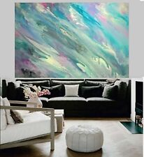 XL 1500 x1000 Modern Pink Blue Pastel  Hand Painted Abstract Canvas Painting Art