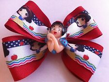 "Girls Hair Bow 4"" Wide Snow White Red Grosgrain Ribbon French Barrette"