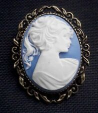 Vintage Lady Cameo White on Pale Blue Resin in Antiqued Bronze Tone Setting