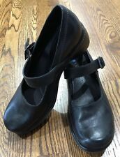 Ecco Women Sz 6.5 Eur 37 Black Leather Mary Jane Mules Clogs Medical