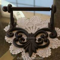 Solid IRON FLEUR DE LIS TOILET PAPER ROLL HOLDER Nice Used Condition