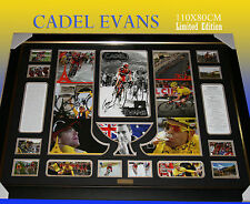 LARGE FRAME OF CADEL EVANS TOUR DE FRANCE WINNER MEMORABILIA LIMITED TO 499 COA