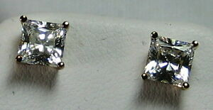 HSN Illumination 2ct Princess Earrings Studs Gold Plated 925 Sterling Silver