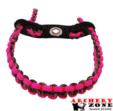 Neon Pink and Hidden (Lost) Camo Bow paracord wrist sling w/Leather yoke Archery