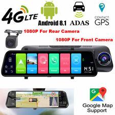 "10"" 4G LTE Android 8.1 GPS Navigation 1080P Car Mirror Rear Camera WIFI Dash Cam"