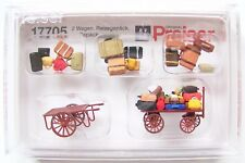 HO 1:87 scale Preiser 17705 : TWO OLD TIME BAGGAGE CARTS with Assorted Luggage