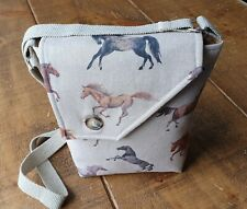 Horse Print, Cross body Bag. Handmade from 100% Cotton