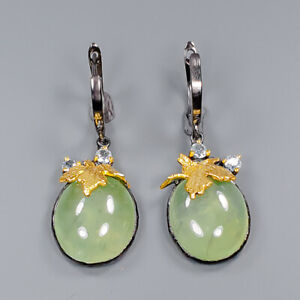 Prehnite Earrings Silver 925 Sterling Handmade Unique Jewelry  /E44856