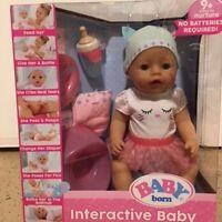 Baby Born Interactive Baby Doll - Blue Eyes