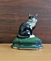 Vintage Cast Iron Black and White Cat Door Stopper