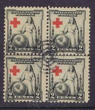 US:1931 2c Red Cross (702) Blk of 4 with extreme wandering cross. (08)