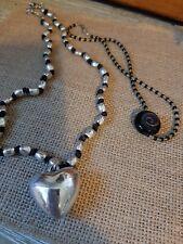 Two Boho Style Necklaces , Silvertone Heart Pendant