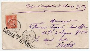 1904 FRANCE OCCUPATION FORCES IN TIENTSIN CHINA COVER, MILITARY CANCELS