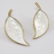 Vintage Sterling Silver David Andersen Modernist White Enamel Clip On Earrings