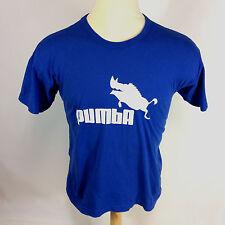 Vintage 90s Pumba T Shirt Animal Boar Pig Blue Soccer Tennis Cartoon