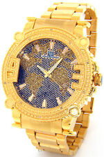 NEW SUPER TECHNO BY JOE RODEO MENS WORLD DIAMOND WATCH GOLD TONE CASE METAL BAND